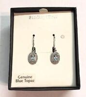 Sterling Silver Genuine Blue Topaz Pierced Earrings w/ Box December Birthstone