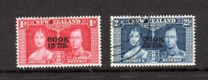 Cook Islands- 1937 Coronation part set 1d and 21/2d MM and FU SG 124-5