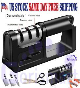 KNIFE Sharpener PROFESSIONAL System Scissors Heavy Duty Diamond Tungsten Ceramic