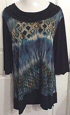 N Touch Women Plus 1x Teal Elegant Tunic Top Blouse Shirt Cowl Neck Dressy 18/20