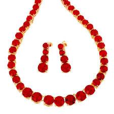 Melina Jewelry Melina Jewelry Set Hot Red Garnet Round Ruby Necklace Earrings