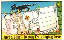 "VINTAGE 1930-40s Comic ""Just A LINE ~ To Say I'm Staying Here !"" Linen UNUSED PC"