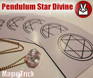 PENDULUM STAR CARD DIVINE MENTAL MENTALIST MIND MAGIC TRICK CRYSTAL NECKLACE NEW