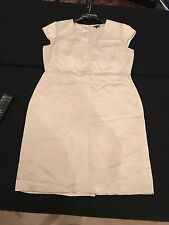 Jaeger Viscose And Ramie Beige Dress Size UK16