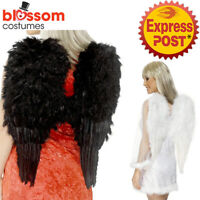 AC789 White or Black Dark Angel Feather Wings Fairy Costume Halloween Accessory