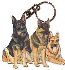 German Shepherd Keychain Wooden Dog Breed Key Ring