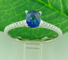 0.82 ct 14k Solid White Gold Ladies Oval Natural Ceylon Sapphire & Diamond Ring