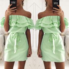 Womens Fashion Summer Casual Beach Mini Dress Ruffle Off Shoulder Party Clubwear