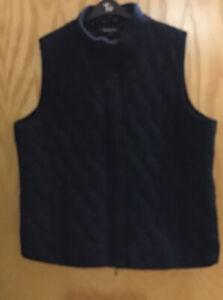Bon Marche Ladies Navy Quilted Cotton Mix Gilet Size 20