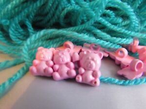 14mm x 10mm Baby Pink Teddy Bear Buttons on a Shank in Packs of 5,10 or 20