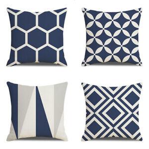 45*45cm Navy Blue Geometric Pattern Pillow Case Cushion Cover Office Sofa Decor