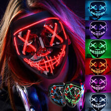 Halloween LED Glow Mask 3 Mode EL Wire Costume Clubbing Rave Cosplay Party Purge