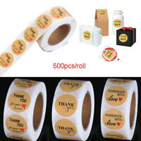 500PCS/Roll Kraft Stickers Thank You Handmade with Love Sealing Package Label