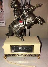 Vintage Knight Armour Statue Dial Flip Alarm Clock 1960's Japan