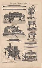 Lithografie 1898: LEDER-Fabrikation. Glätt-Stein Schuster Spalt-Walz-Maschine