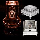 1Pc Silver 3D Crystal Glass Trophy 3 LED Laser Battery Light Up Stand Base Decor