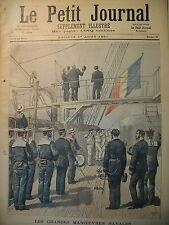 GRANDES MANOEUVRES NAVALES MARINS SALUT AU PAVILLON LE PETIT JOURNAL 1891
