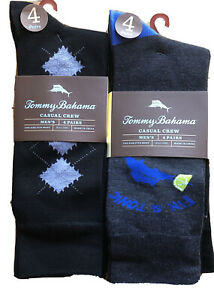 Tommy Bahama Dress Socks 8 Pair Black Gray Marlin Martini Men One Size Crew NEW