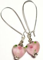 Long Pink Frosted Glass Heart Bead Earrings Drop Dangle Silver Style UK MADE