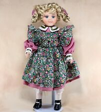 """Collector's Porcelain Girl Doll 16"""" Blond With Braids Blue Eyes"""