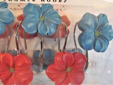 Floral Bath Shower Curtain Hooks CORAL WATERCOLOR & Blue Flowers & Petals