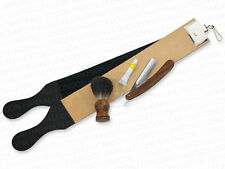 Leather Strop Shaving Straight Razor & German paste + wooden badger hair Brush