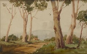 """Early Original Watercolour Painting By Kenneth Jack (1924–2006) """"A Country Road"""""""