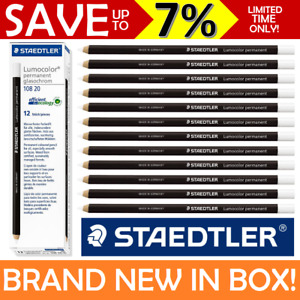 12x WHITE NEW IN BOX Staedtler Glasochrom Chinagraph Lumocolor Permanent Pencil
