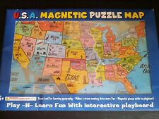 Usa Puzzle Map Magnetic Play-Learn Interactive Board 19227Mx Ata-Boy New Sealed