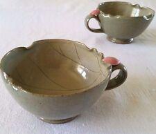Studio Pottery Handmade Tea Cups Leaves Green Gray Pink Bud Stoneware Set of 2