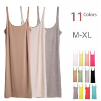 Extra Long Stretchy Cami Tank Top Bandage Spaghetti Strap Mini Layering Dress