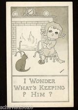 Young Girl with Pussy Cat by Fire Wonder What's Keeping Him Vintage Postcard 530