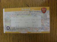 09/11/2002 Ticket: Arsenal v Newcastle United  (folded). Footy Progs/Bobfrankand
