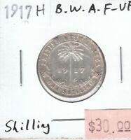 British West Africa 1 Shilling 1917H Silver Fine