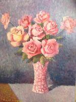 Tableau Ancien Impressionniste Bouquet Roses signé René CINQUIN 1898 -1978 Huile