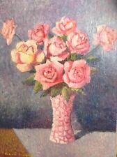 Tableau Post-Impressionniste René CINQUIN (1898 - 1978) Bouquet de Roses Huile