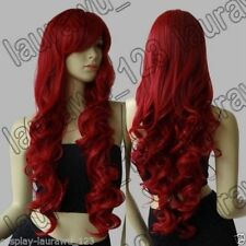 "30"" Long Heat Resistant Dark RED Fashion Big Spiral Curl Cosplay Anime hair Wigs"