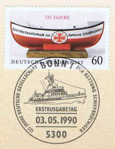 Frg 1990: Seenotrettung No. 1465 With Sauberem Bonner Affixed !1A! 1806