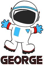 PERSONALISED ASTRONAUT A5 T SHIRT TRANSFER A5 ASTRONAUT IRON ON TRANSFER A5