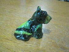 "Black & Yellow/Green Slag Glass Sitting Scottish Terrier Figurine 2 1/4"" T"