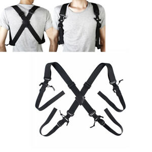 Tactical X-Back Suspenders Military Duty Belt Harness Strap for Hunting Hiking