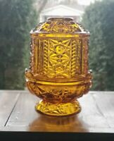 Vintage Indiana Glass Amber Fairy Lamp Light Stars and Bars Candle Holder