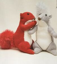 """Knitting Pattern For  Toy Animal Squirrel  Approx. 11"""" In Height"""