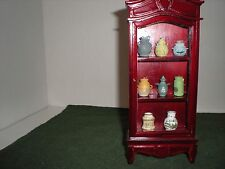 Dollhouse Miniatures 1:12 Mahogany Curio Cabinet w/ Vases - SALE PRICE 13.00 EA