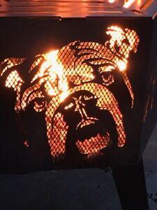 Bulldog  hexagonal fire pit with grill Black finish.
