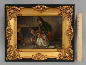 Antique Signed ??? Genre Oil Painting. Three Children w/ Chicken & Chicks