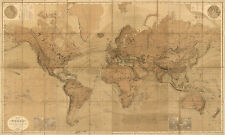 1863 World Map Mercators Projection Vintage Antique Look Wall Art Poster Decor