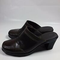 Women's Clarks Bendables Slip-on Shoes Pumps Heels-Brown Leather- 6 M