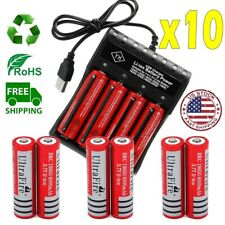10* Powered UltraFire 18650 Battery 3.7V Rechargeable Li-ion Batteries Chargers