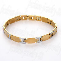 Mens Women Gold Silver Tone Stainless Steel Bracelet Bangle Wristband Cuff Chain